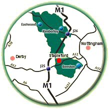 Stapleford in Nottinghashire is located  aproximaely half-way between Nottingham and Derby